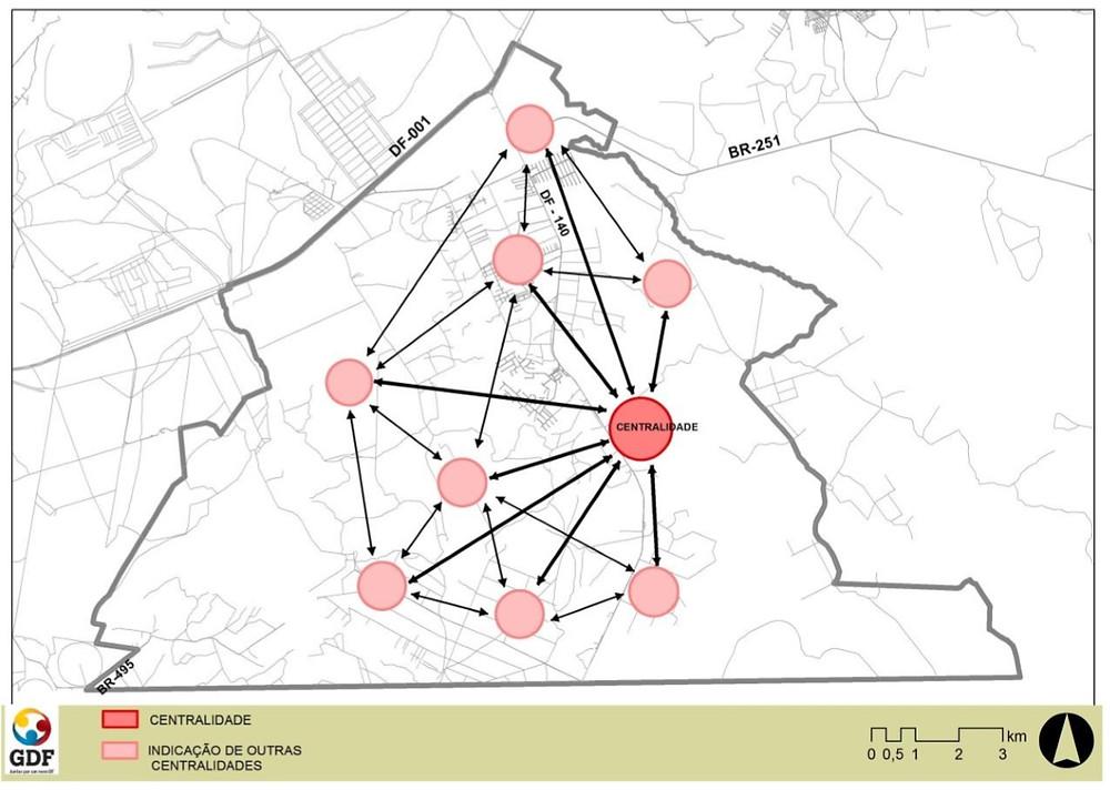 Figura 02: perspectiva de centralidades de comercio na nova cidade da Região Sul Sudeste, Distrito Federal.