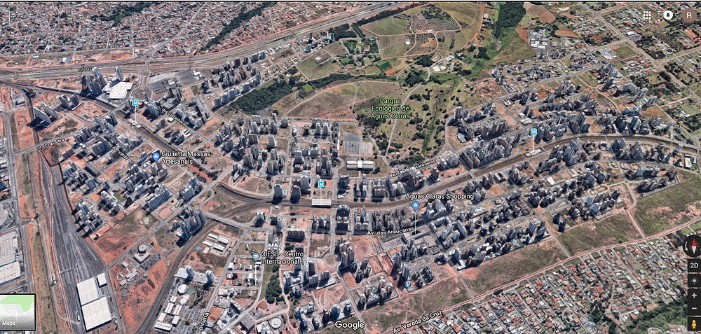 Imagem 01: perspectiva em 3D área da cidade de Águas Claras.