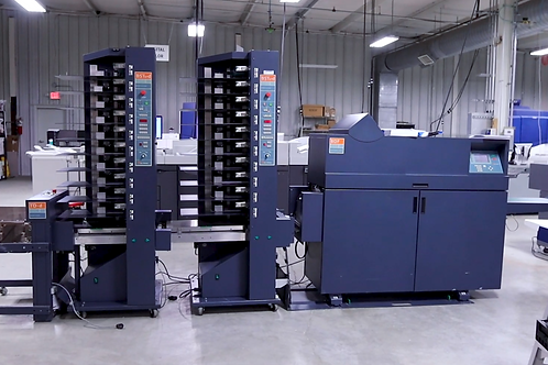 Bourg BST10-d Suction Tower Collator, BDF Document Finisher, and TD-d Dual Stack