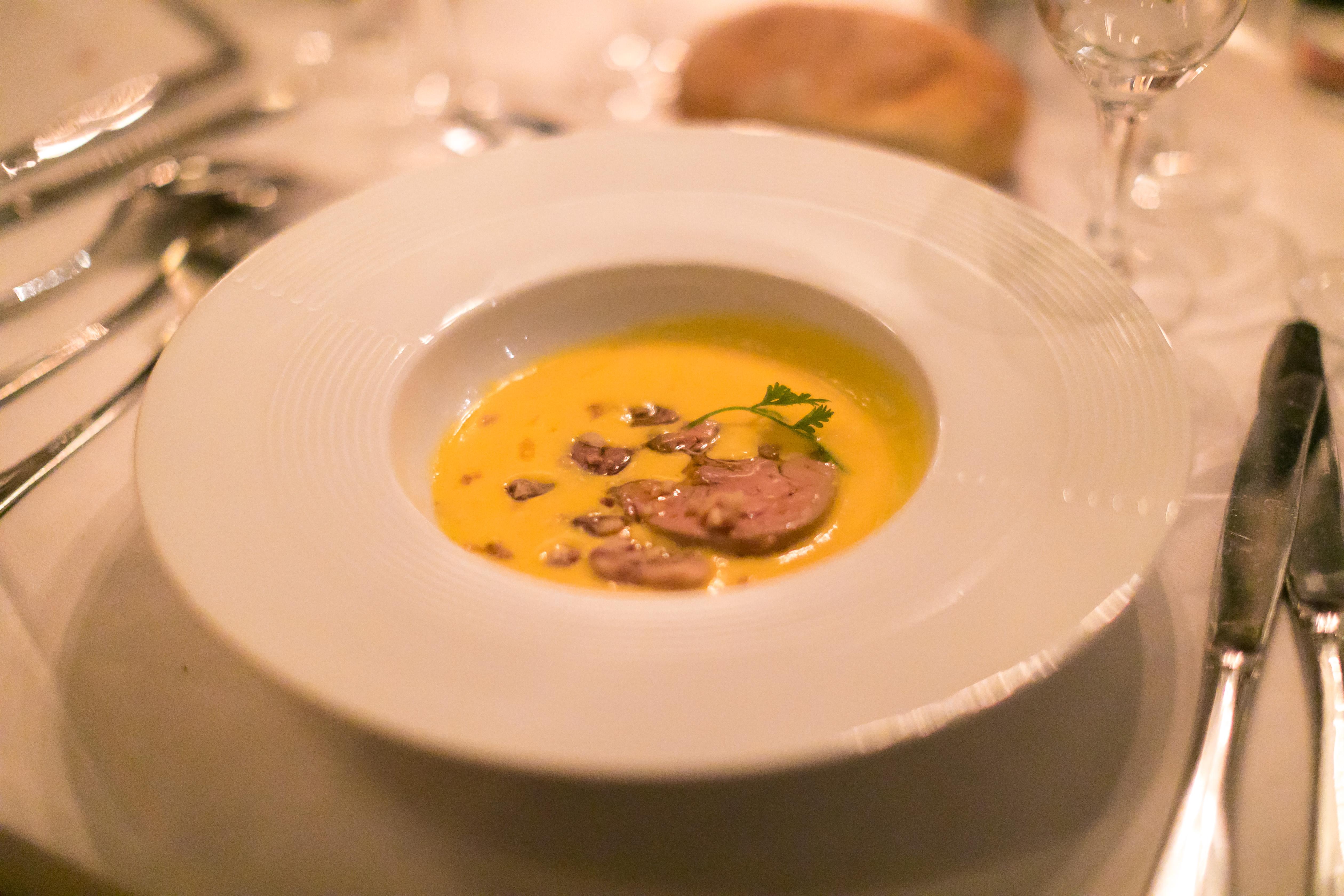 Crème de potimarron et foie gras