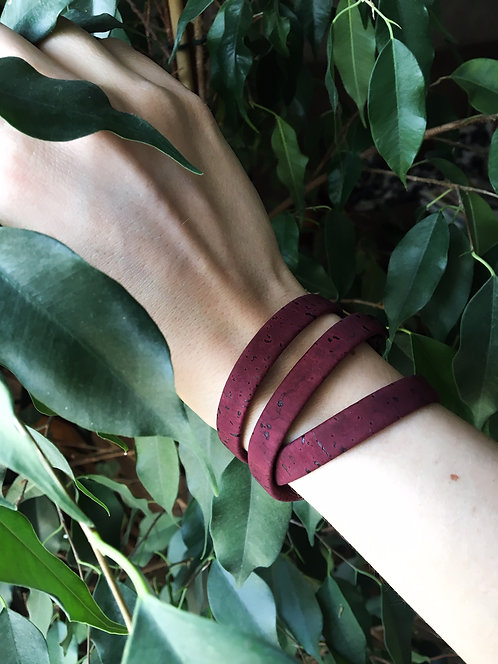 TANGLED Maroon Cork Wristband