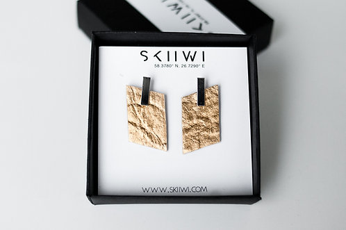 RHOMBOID Pinatex Gold Earrings