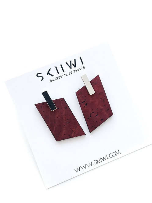 RHOMBOID Maroon Earrings