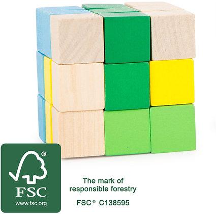 Cube à reconstruire vert et jaune