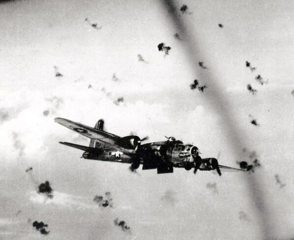 B-17 flying through German antiaircraft fire.