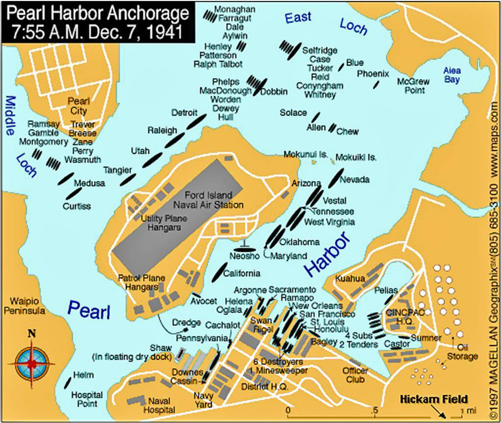 December 7, 1941 map of Pearl Harbor showing location of anchored U.S. Fleet.