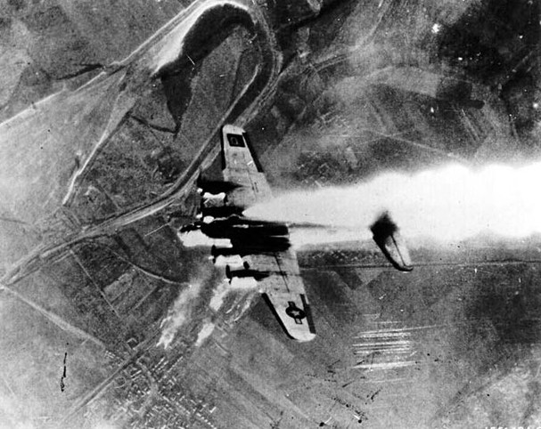 B-17 goes down in flames.