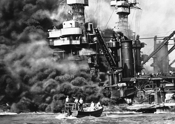 Rescue boats off of the U.S.S. West Virginia.