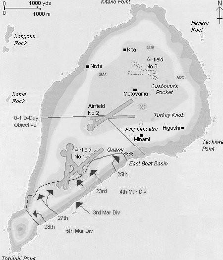 Iwo Jima with Mt. Suribachi at lower left.