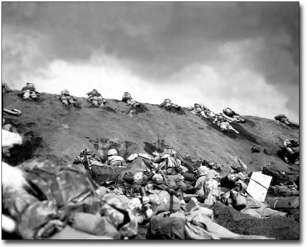 Marines on the beaches of Iwo Jima.