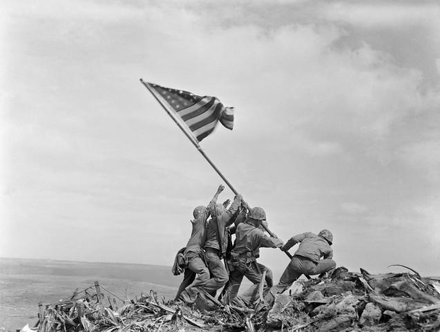 Flag raising on Mt. Suribachi.