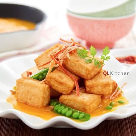 Seafood Tofu with Pumpkin Sauce