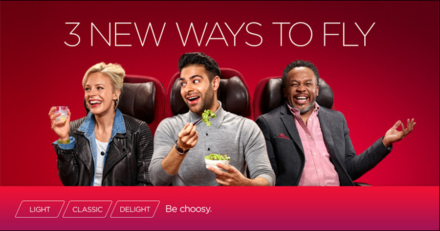 Virgin Atlantic Fare Brand Marketing image. Showing three travellers and three different fare brand titles. Light, Classic and Delight. Tag line Be Choosy.
