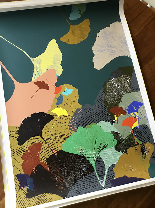 Limited Edition A1 print Print 'Ginkgo Teal  2021'