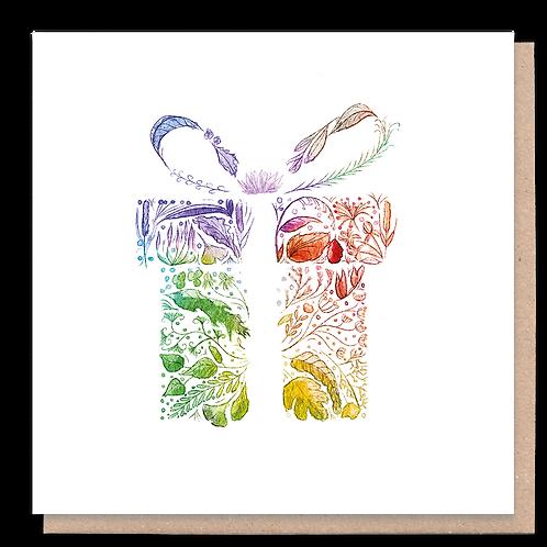 Rainbow Present Greeting Card