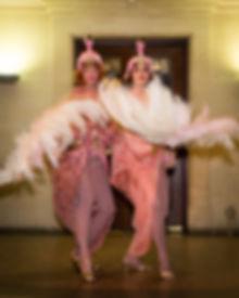 fan dance, burlesque, pride gala ball, fan dance duet, flamingo flappers, flappers, 20s,