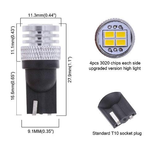 T10 194 4 LED  Pack Qty (10) Canbus Bulb (White)