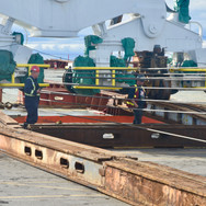 A-1 Marine supervising the setup of temporary tracks and rigging prior to discharge