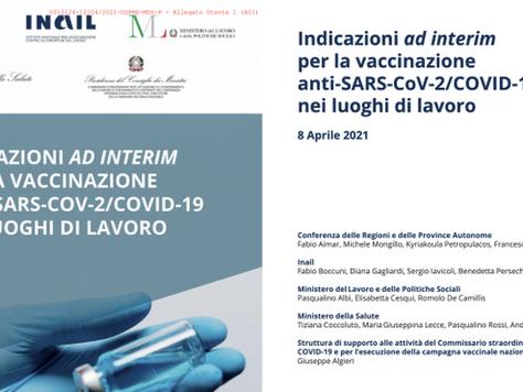 Indicazioni ad interim per la vaccinazione anti-SARS-CoV-2/COVID-19 nei luoghi di lavoro