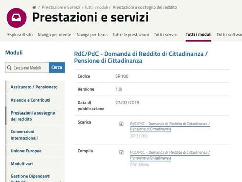 Reddito di cittadinanza - Inps pubblica il modulo per fare domanda