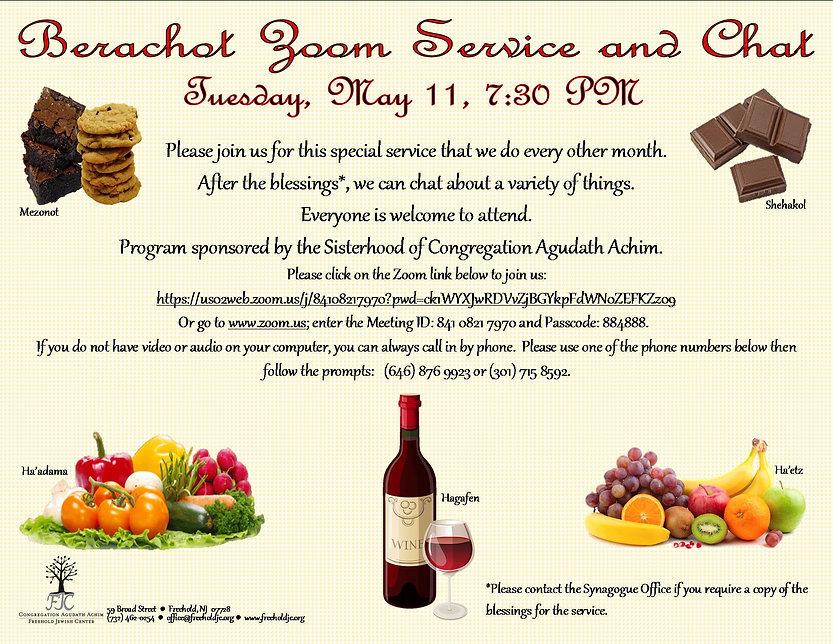 5.11.21 Berachot Service Flyer . Sisterh