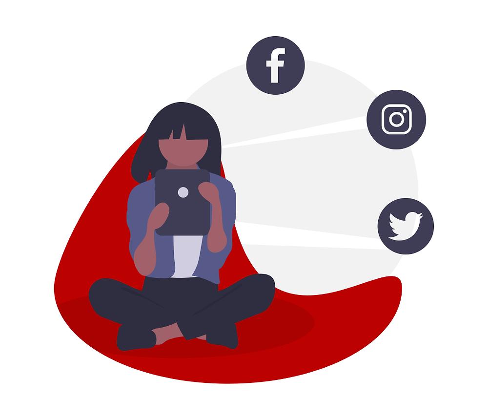 a girl using social media