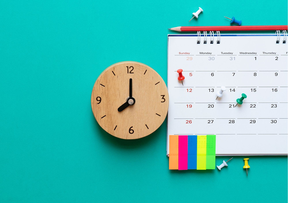 important dates pinned on calendar