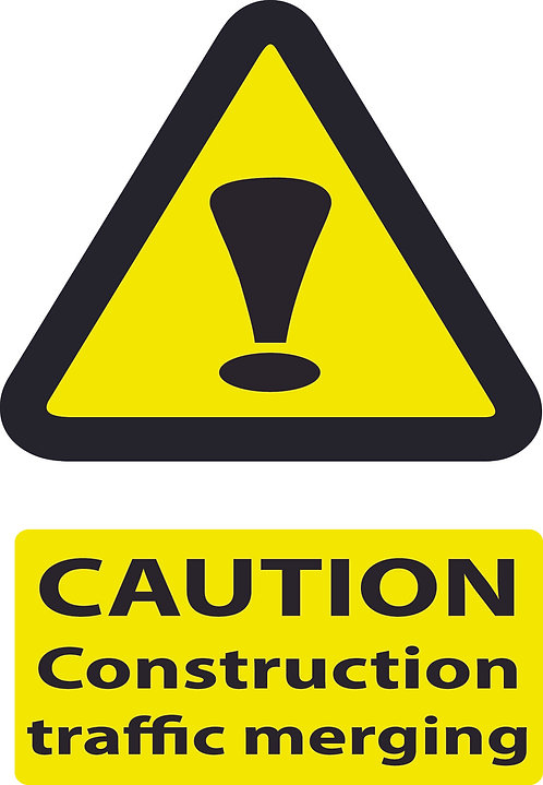 Caution Construction Traffic Merging