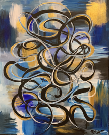 Metallic Accented Abstract Knotwork in Blue Tones