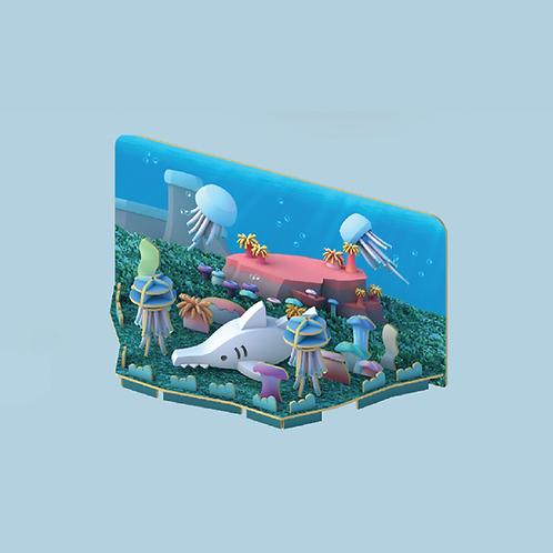 Halftoys Magnetic Animal Blocks with Diorama - Saw Shark