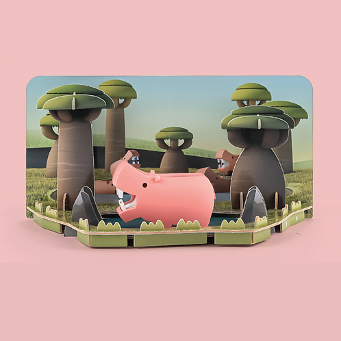 Halftoys Magnetic Animal Blocks with Diorama - Hippo