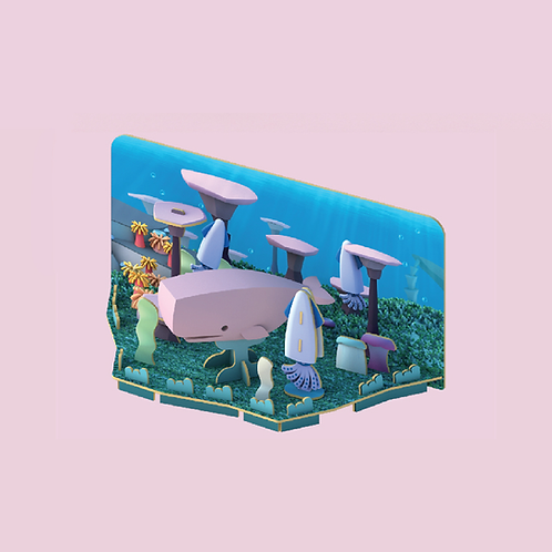 Halftoys Magnetic Animal Blocks with Diorama- Sperm Whale