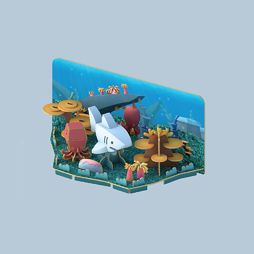 Halftoys Magnetic Animal Blocks with Diorama - White Shark