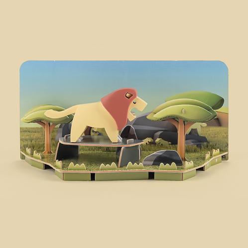 Halftoys Magnetic Animal Blocks with Diorama - Lion