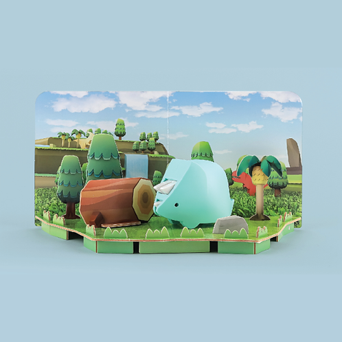 Halftoys Magnetic Animal Blocks with Diorama - Tricera