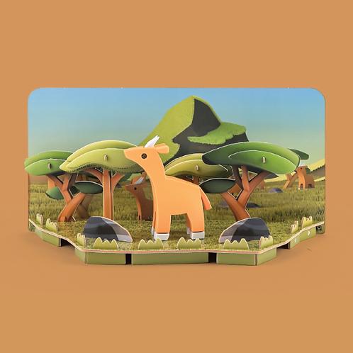 Halftoys Magnetic Animal Blocks with Diorama - Impala