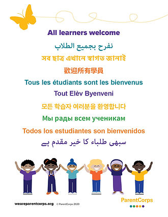 ParentCorps' All Learners Welcome poster