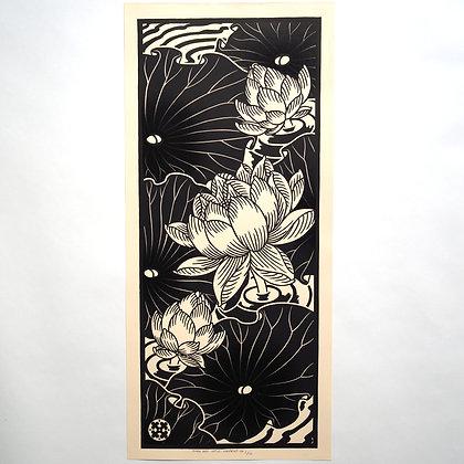 'Lotus' Original Linoprint