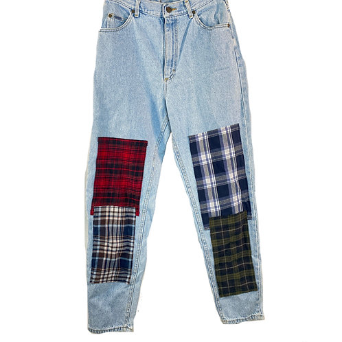 flannel patch jeans