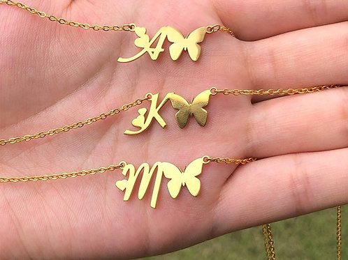 Letter Initial Butterfly Necklaces