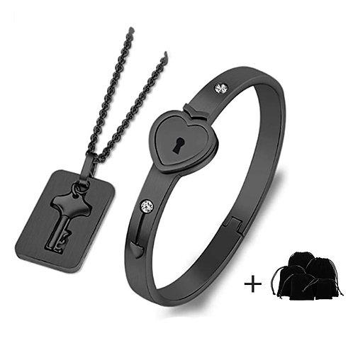 Couple Heart Lock Bracelet and Key Pendant Necklace