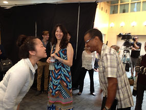 Suzy Nakamura and Phil Lamarr reunited on set of How To Beat Your Sister-in-Law (at everything)