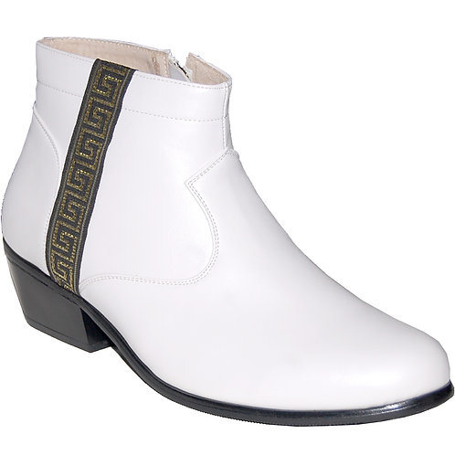 New Elvis White KRAZY Shoe Artists Men's Cuban Heel Shoe with Ornament 4