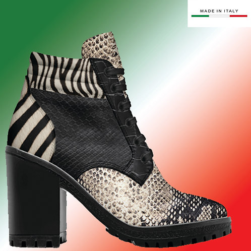 Custom Design Men's 3.3 inch Heel, Lace Up Boot - Python Mix