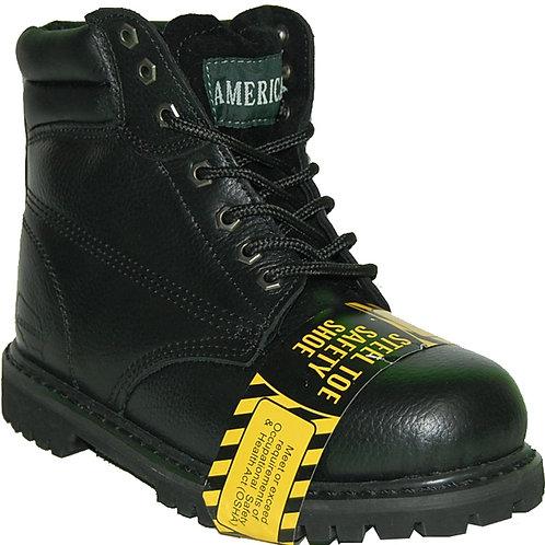 KRAZY LP Men's Steel Toe Superb Stitching Genuine Leather Black Workboot