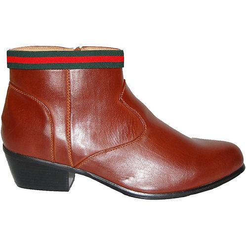 KRAZY Brown Men's Cuban Heel Boot, side zipper, Top green-red Ornament