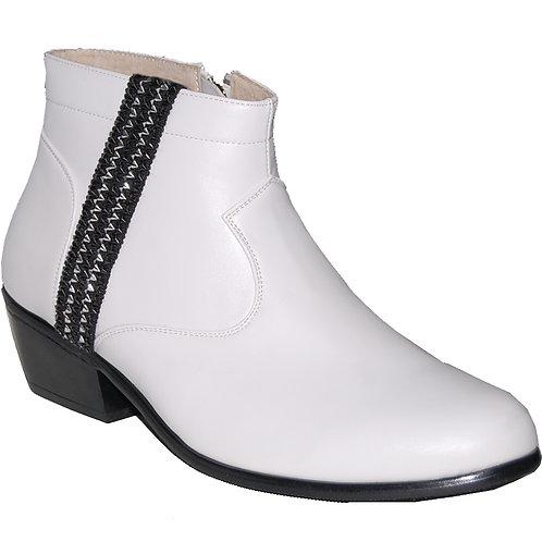 New Elvis White KRAZY Shoe Artists Men's Cuban Heel Shoe with Ornament 7