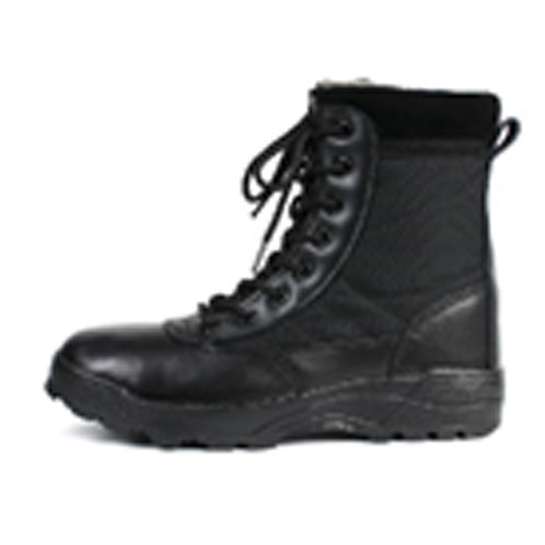 Men's 8 inch Black Leather & Nylon, Chunky Sole Lace Up Combat Boot