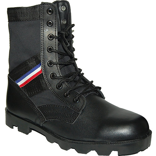KRAZY Men's 8 inch Leather Tactical Black Boot with red-blue-white Ornament