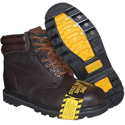 KRAZY Shoe Artists Men's Steel Toe Genuine Leather Dark Brown Workboot